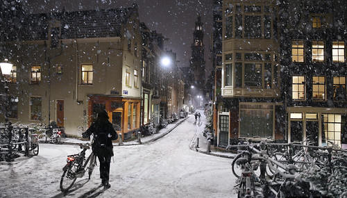 Snowfall does not stop the Dutch cyclist