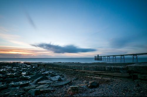 clevedon clevedonpier somerset northsomerset england uk landscape coastallandscape coast coastal seascape pier beach rocks slipway bluehour longexposure nikond300 sunset