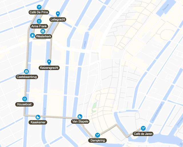 Mapa del segundo día de nuestra ruta de 3 días por Amsterdam
