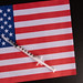 Vaccine vial. Medical syringe with needle for protection flu virus and coronavirus with flag of USA