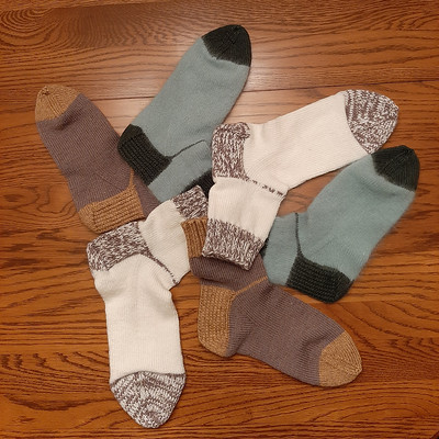 Beverley decided to knit some socks! These she knit for her daughters!