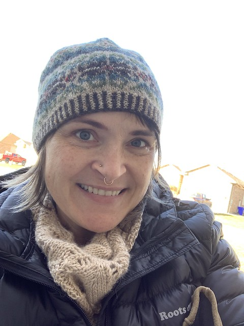 Diane looks wonderful in a beautiful stranded hat and her Canopy Shawl by Melody Hoffmann!
