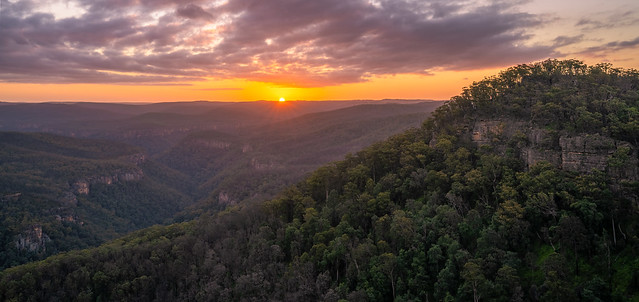 Mount Carnavon and Bundanoon Gorge at sunset