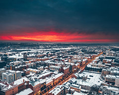 Red sunset | Kaunas aerial