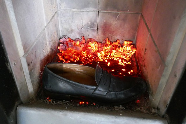Loafers in the fireplace