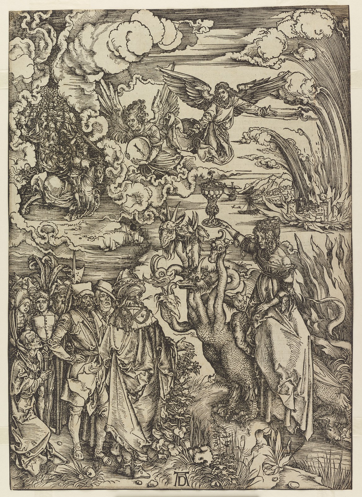 Albrecht Dürer - Whore of Babylon, Plate fourteen of fifteen from the Latin edition of The Apocalypse series, printed 1511