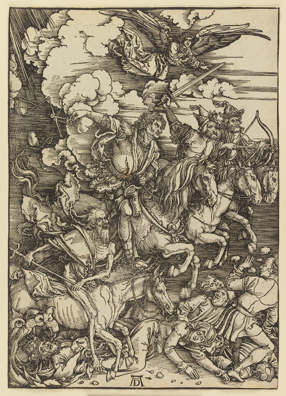 Albrecht Dürer - The Four Horsemen, Plate four of fifteen from the Latin edition of The Apocalypse series, printed 1511