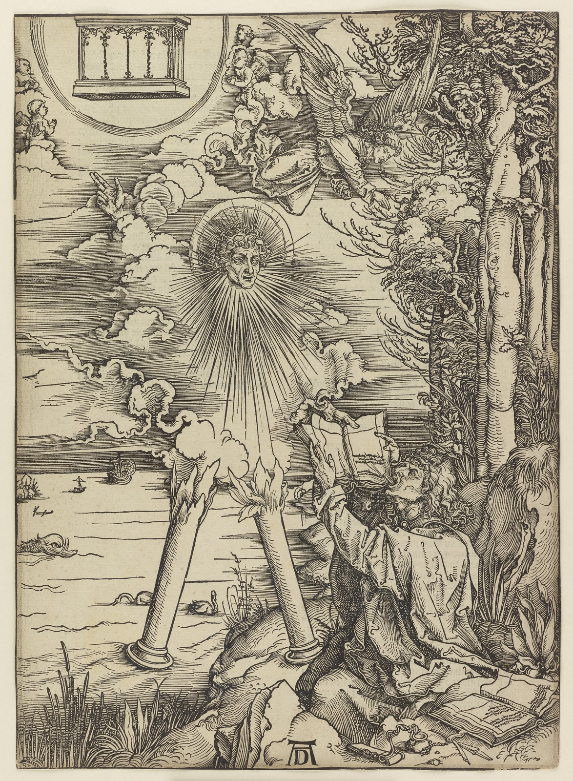 Albrecht Dürer - St John devouring the book, Plate nine of fifteen from the Latin edition of The Apocalypse series, printed 1511