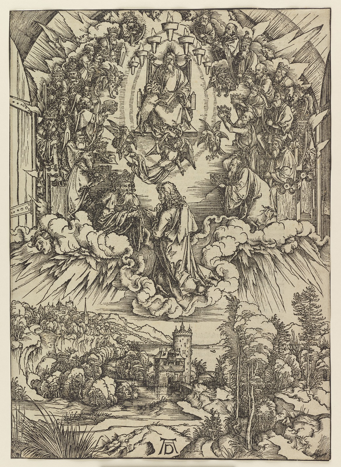 Albrecht Dürer - St John before God and the elders, Plate three of fifteen from the Latin edition of The Apocalypse series, printed 1511