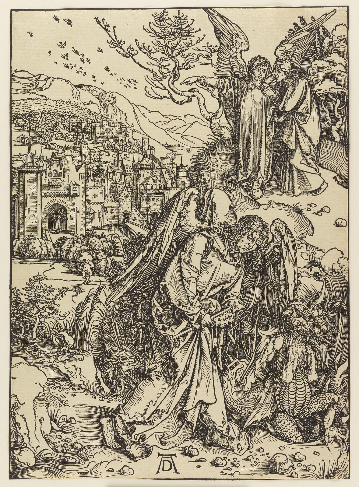Albrecht Dürer - Angel with the key of the bottomless pit,  Plate fifteen of fifteen from the Latin edition of The Apocalypse series, printed 1511