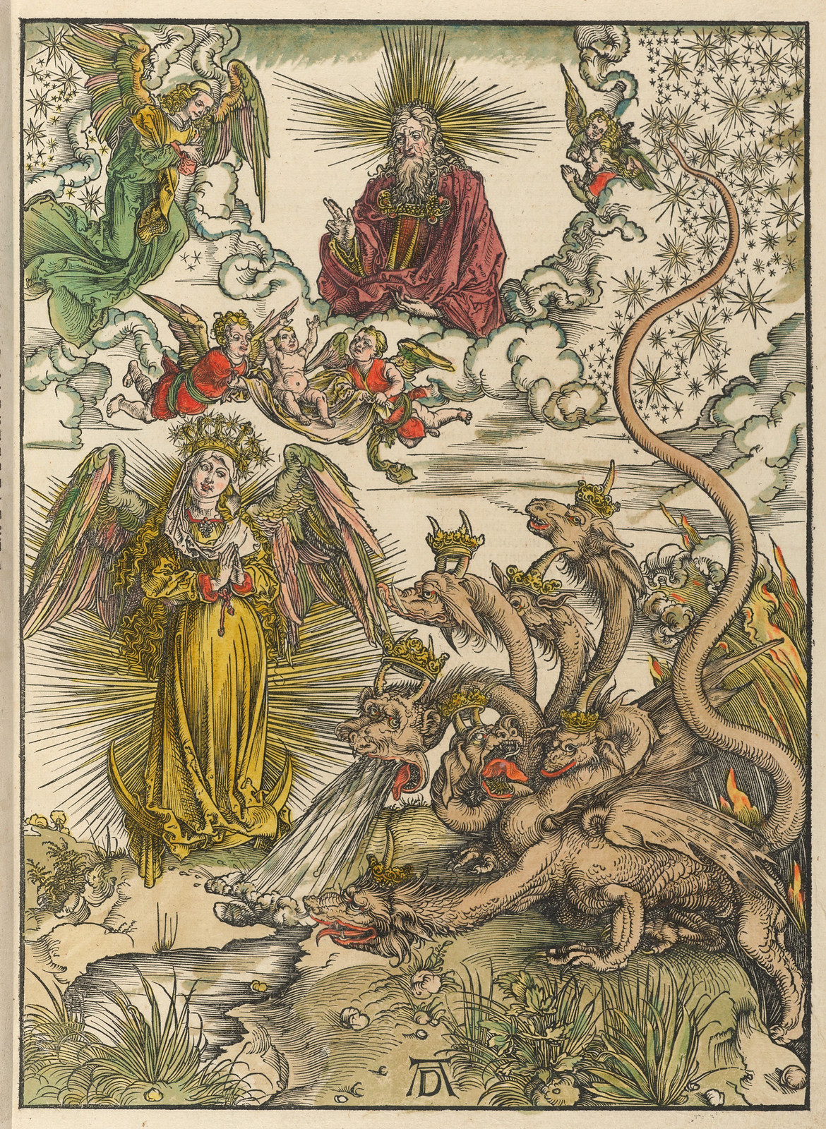 Albrecht Dürer - Woman of the Apocalypse, Plate ten of fifteen from the Latin edition of The Apocalypse series, hand colored, printed 1511