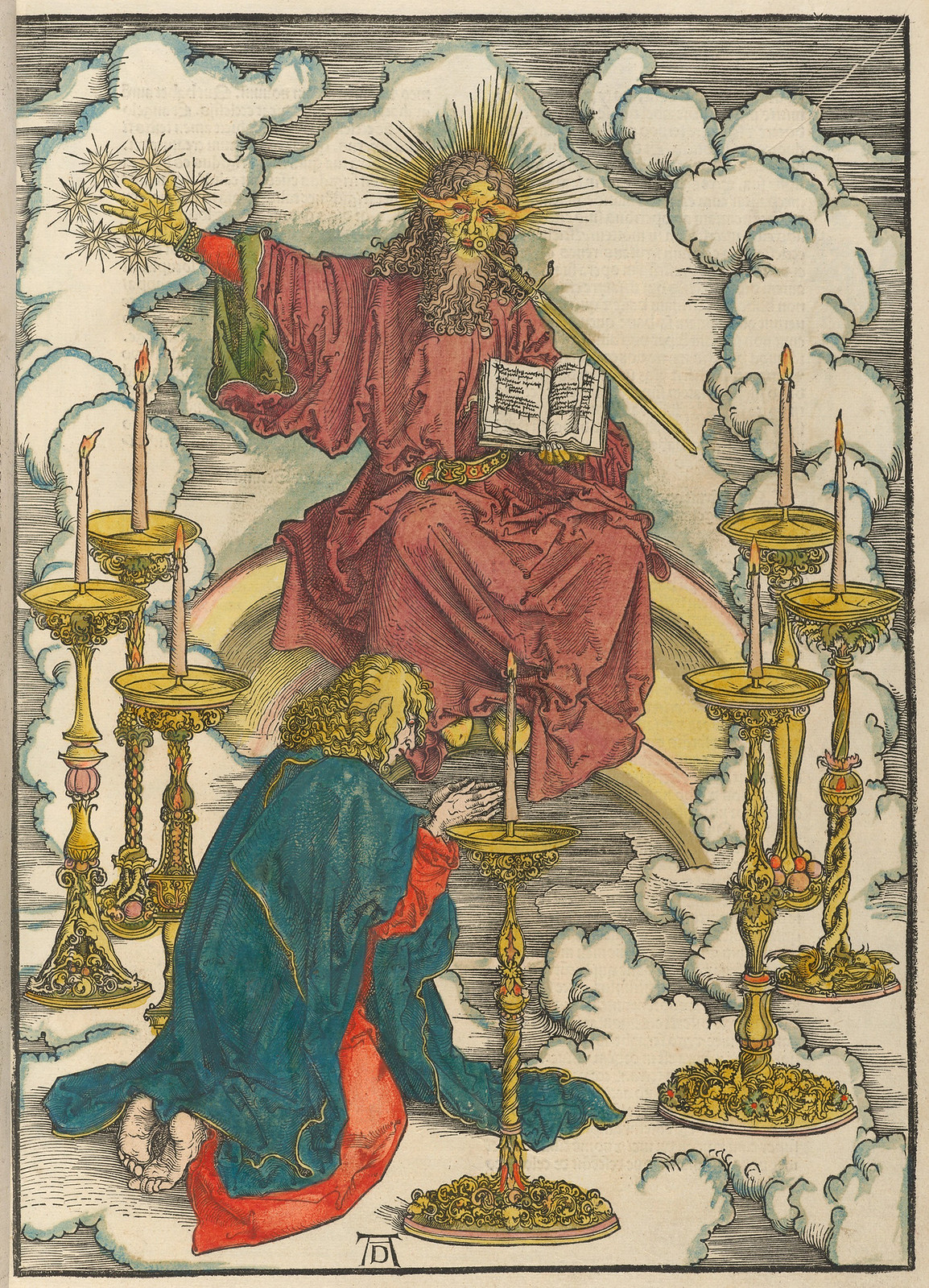 Albrecht Dürer - Vision of the seven candlesticks, Plate two of fifteen from the Latin edition of The Apocalypse series, hand colored, printed 1511