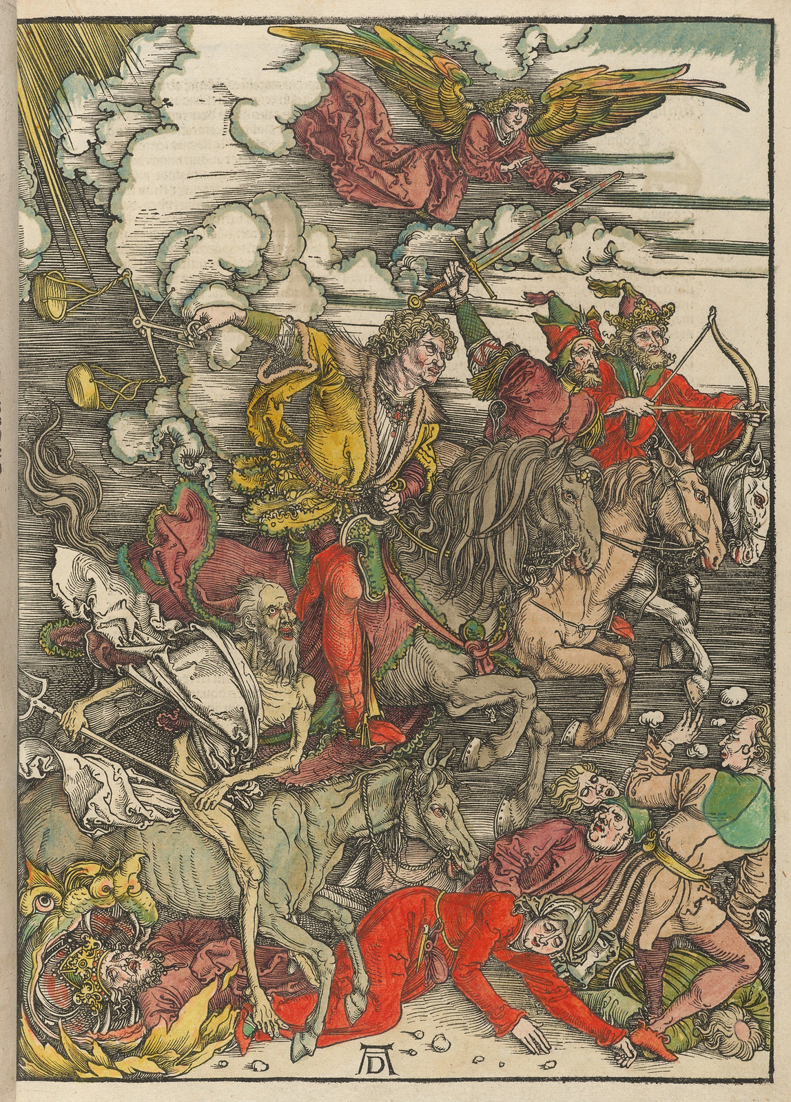 Albrecht Dürer - The Four Horsemen, Plate four of fifteen from the Latin edition of The Apocalypse series, hand colored, printed 1511