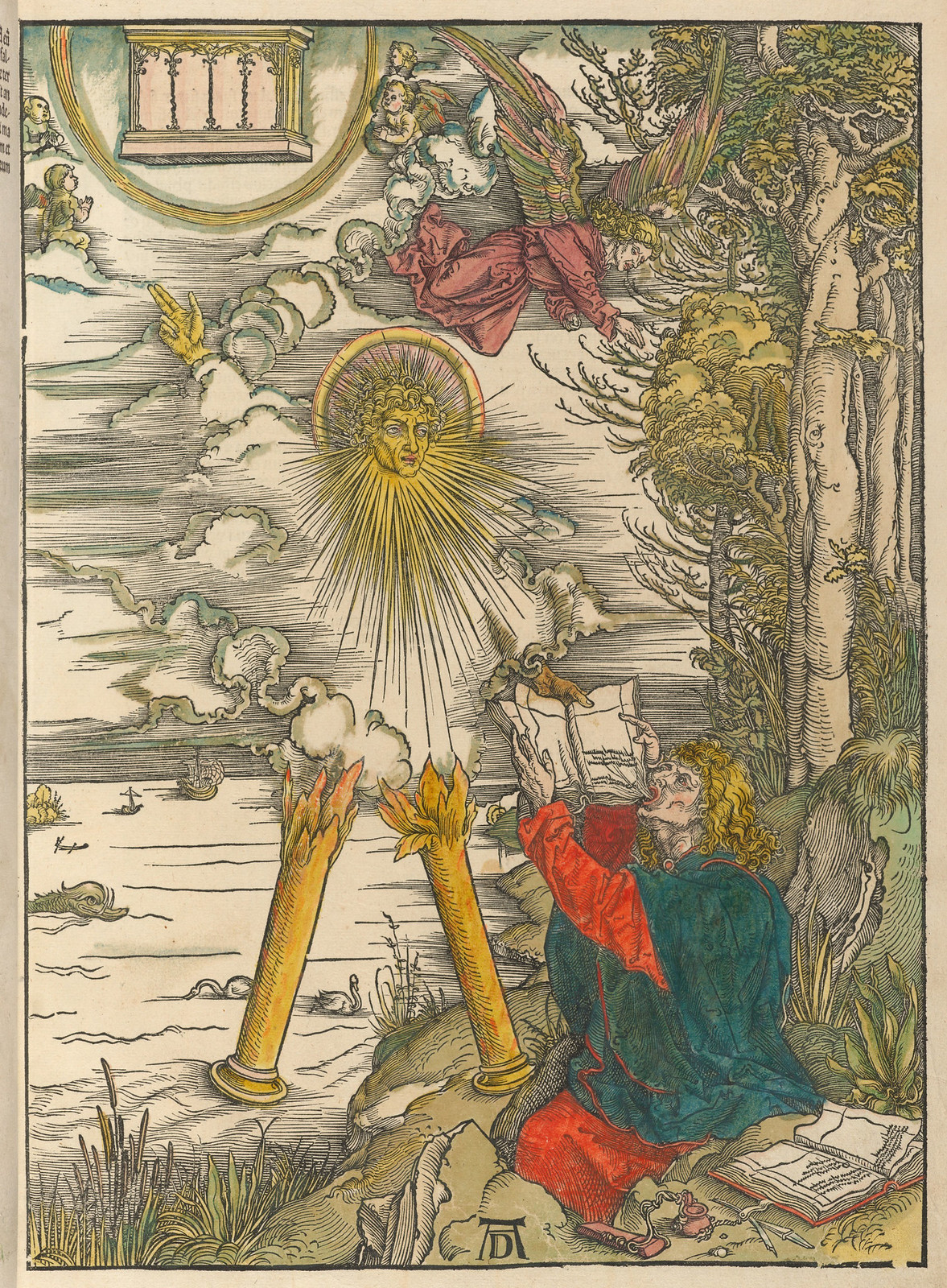 Albrecht Dürer - St John devouring the book, Plate nine of fifteen from the Latin edition of The Apocalypse series, hand colored, printed 1511