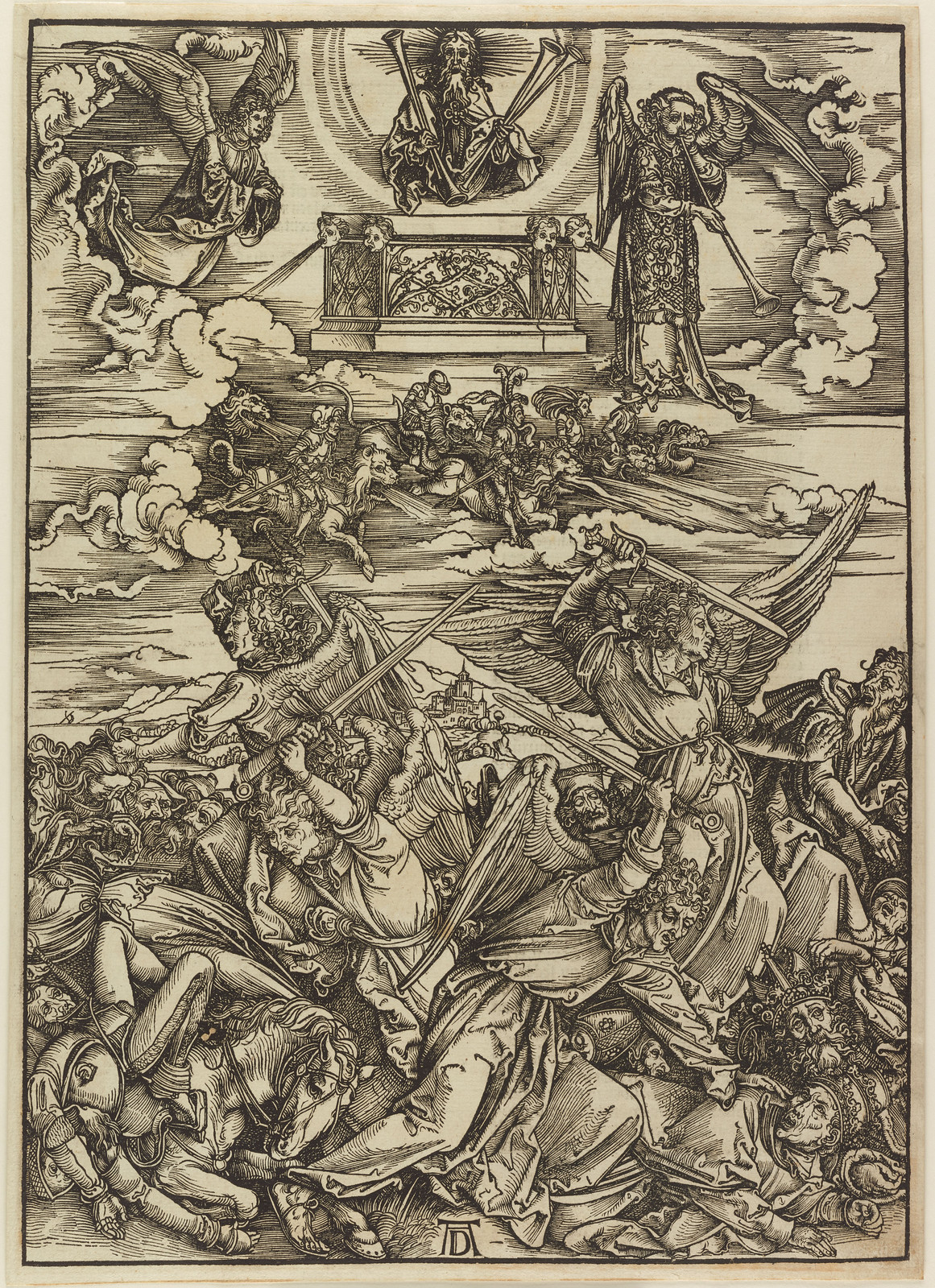 Albrecht Dürer - Four avenging angels., Plate eight of fifteen from the Latin edition of The Apocalypse series, printed 1511