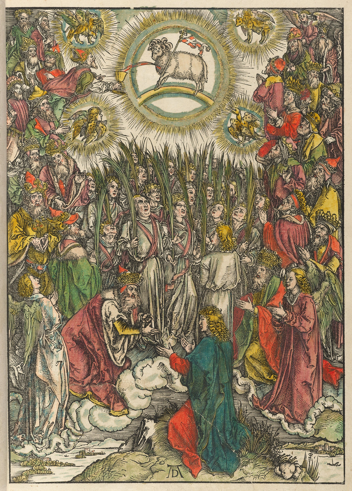 Albrecht Dürer - Adoration of the Lamb, Plate thirteen of fifteen from the Latin edition of The Apocalypse series, hand colored, printed 1511