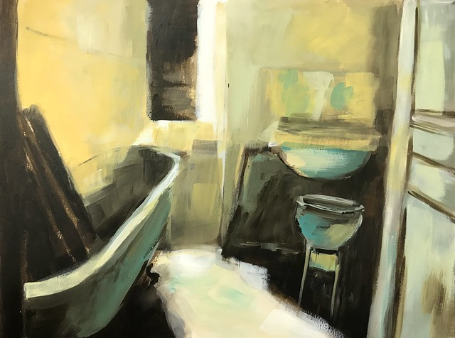 Bathroom, Acryl, 36 x 48 cm