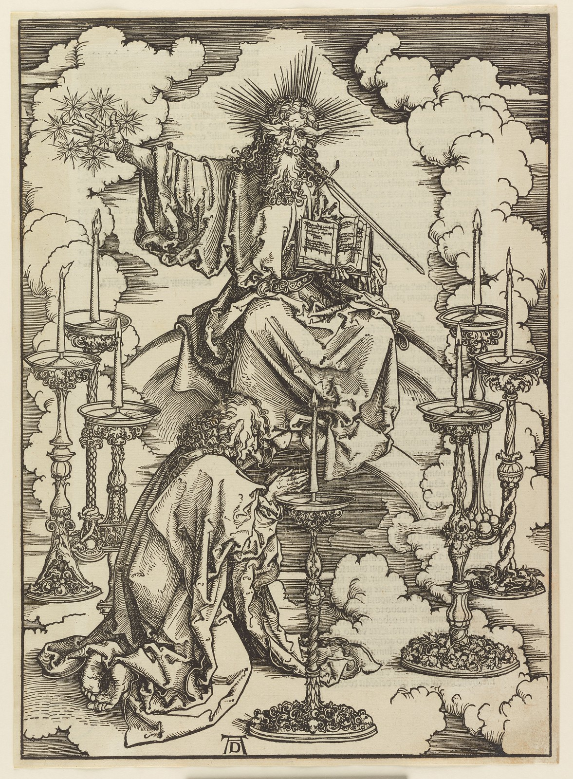 Albrecht Dürer - Vision of the seven candlesticks, Plate two of fifteen from the Latin edition of The Apocalypse series, printed 1511
