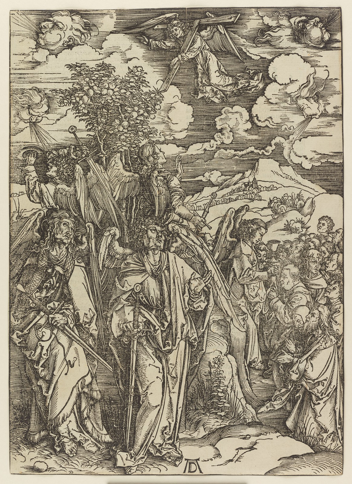 Albrecht Dürer - Four angels holding the winds, Plate six of fifteen from the Latin edition of The Apocalypse series, printed 1511