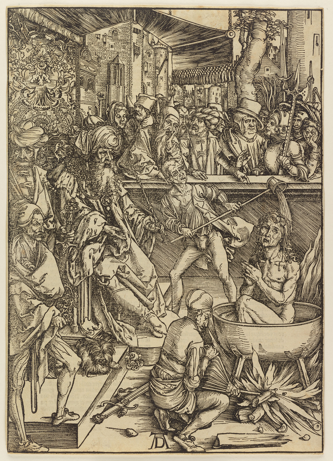 Albrecht Dürer - Martyrdom of St John, Plate one of fifteen from the Latin edition of The Apocalypse series, printed 1511