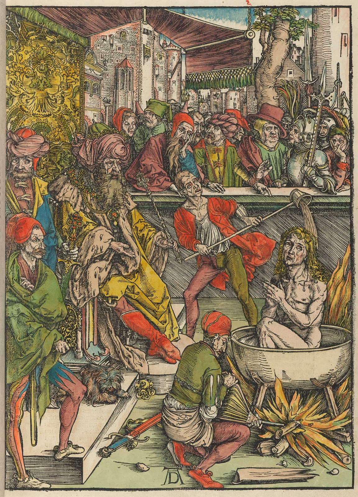 Albrecht Dürer - Martyrdom of St John, Plate one of fifteen from the Latin edition of The Apocalypse series, hand colored, printed 1511