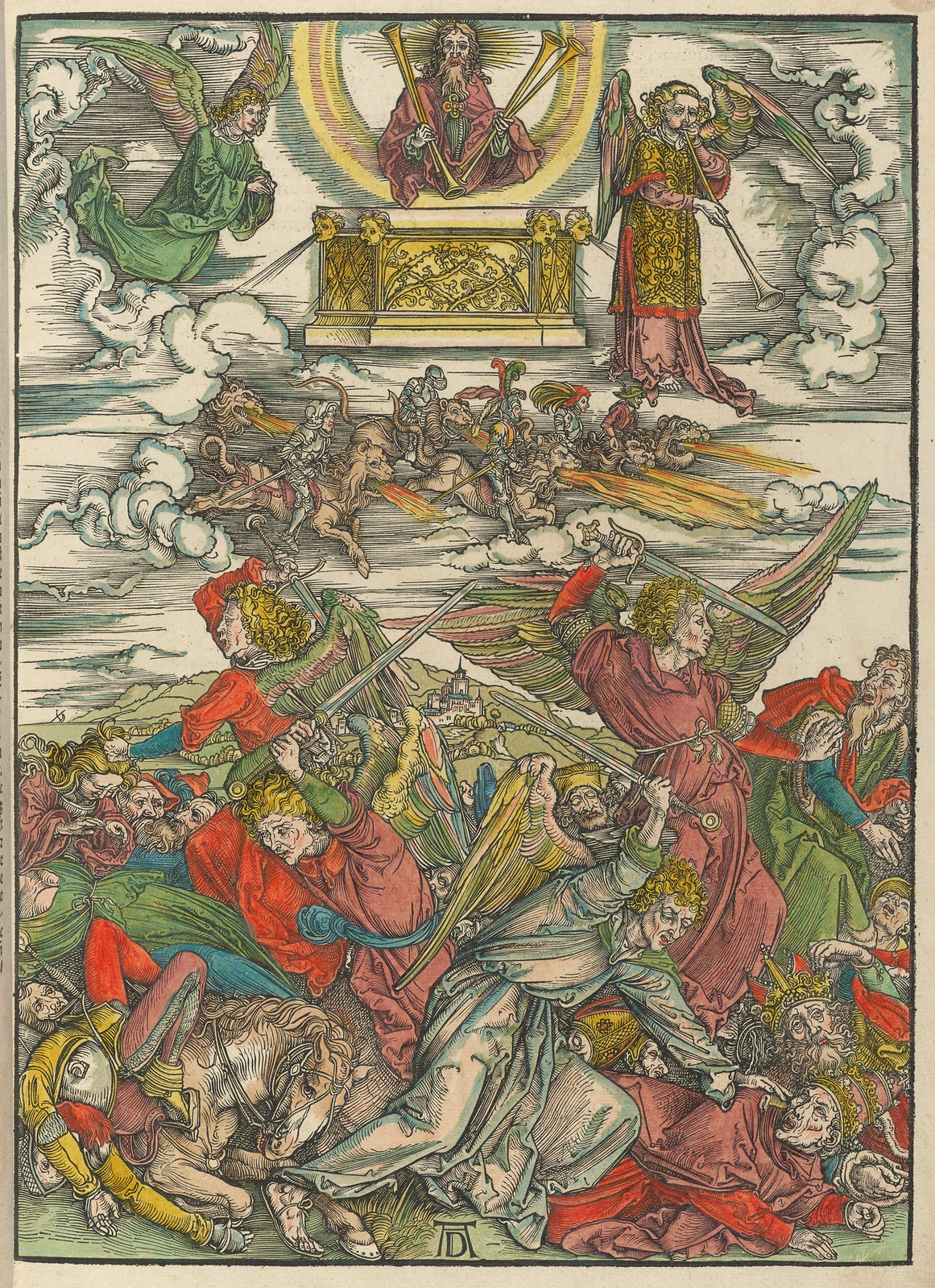 Albrecht Dürer - Four avenging angels., Plate eight of fifteen from the Latin edition of The Apocalypse series, hand colored, printed 1511