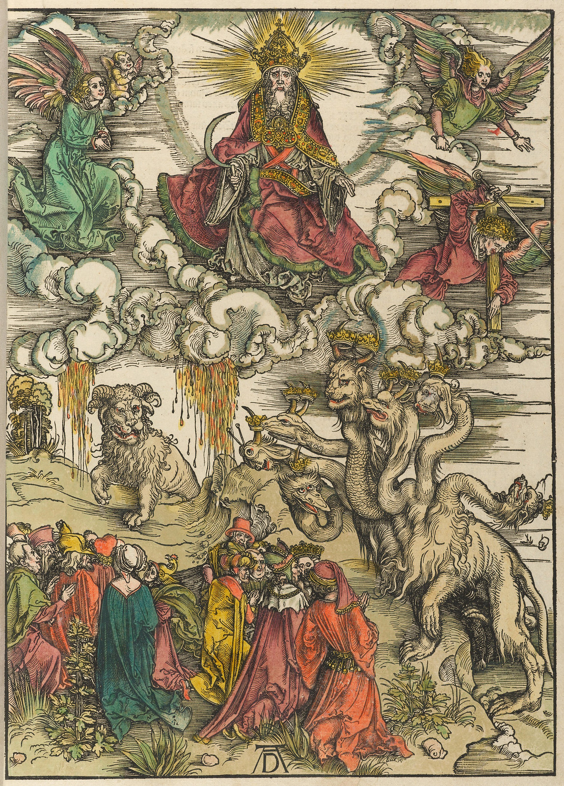 Albrecht Dürer - Beast with two horns like a lamb, Plate twelve of fifteen from the Latin edition of The Apocalypse series, hand colored,  printed 1511