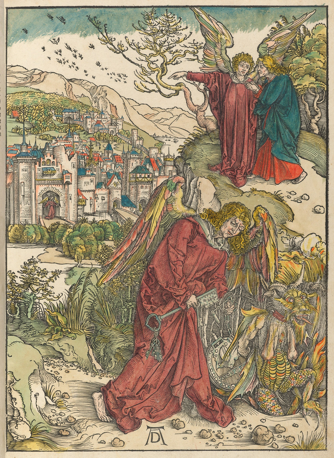 Albrecht Dürer - Angel with the key of the bottomless pit,  Plate fifteen of fifteen from the Latin edition of The Apocalypse series, hand colored printed 1511