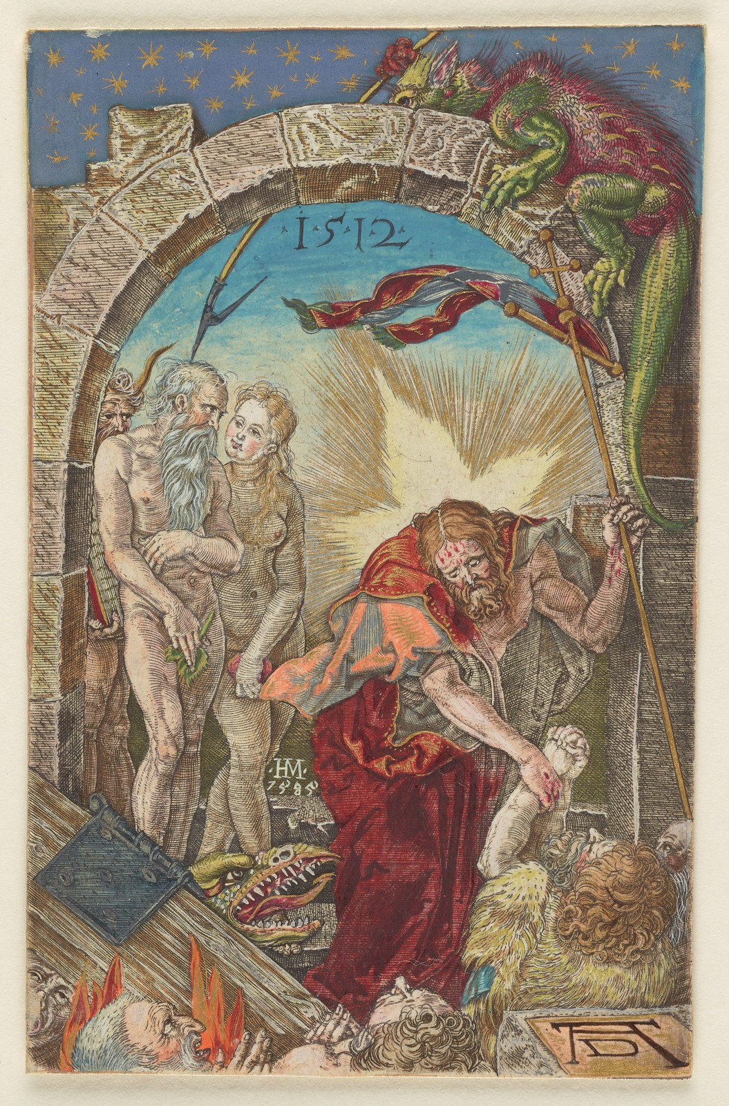 Albrecht Dürer - Harrowing of Hell, from the Engraved Passion series (1512), Hand-coloured by Hans Mack, 1585