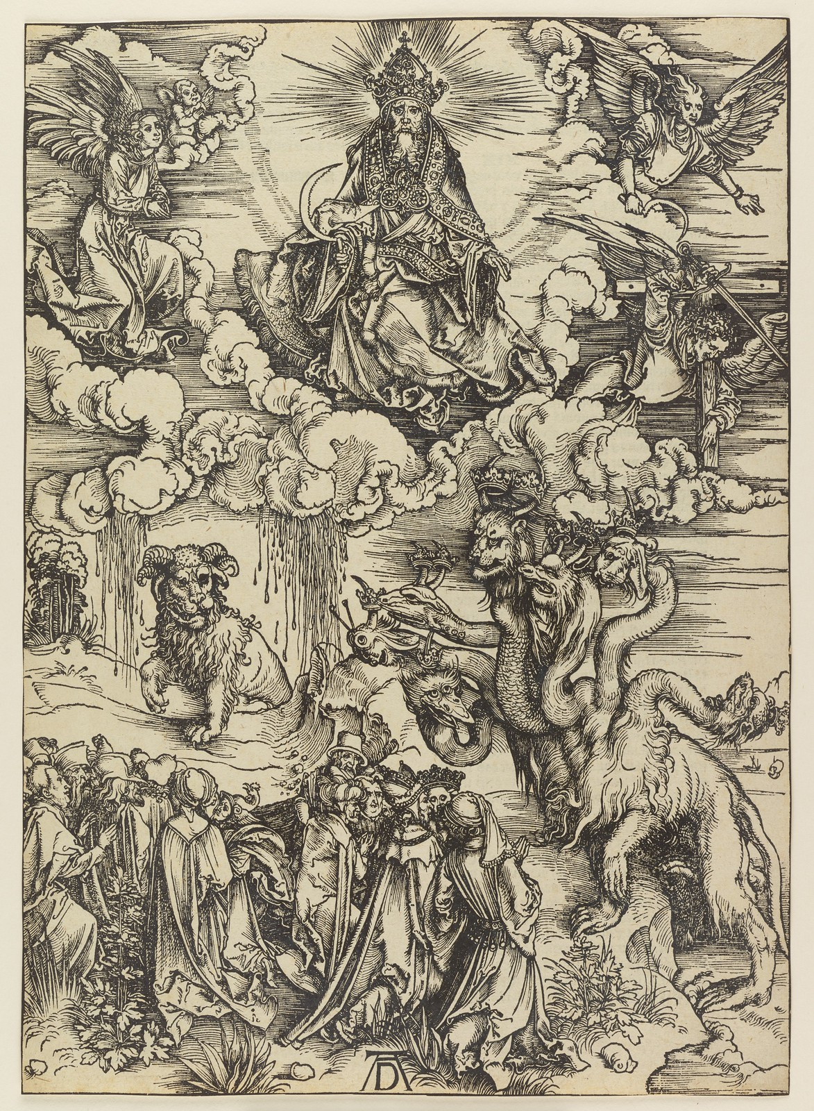 Albrecht Dürer - Beast with two horns like a lamb, Plate twelve of fifteen from the Latin edition of The Apocalypse series, printed 1511