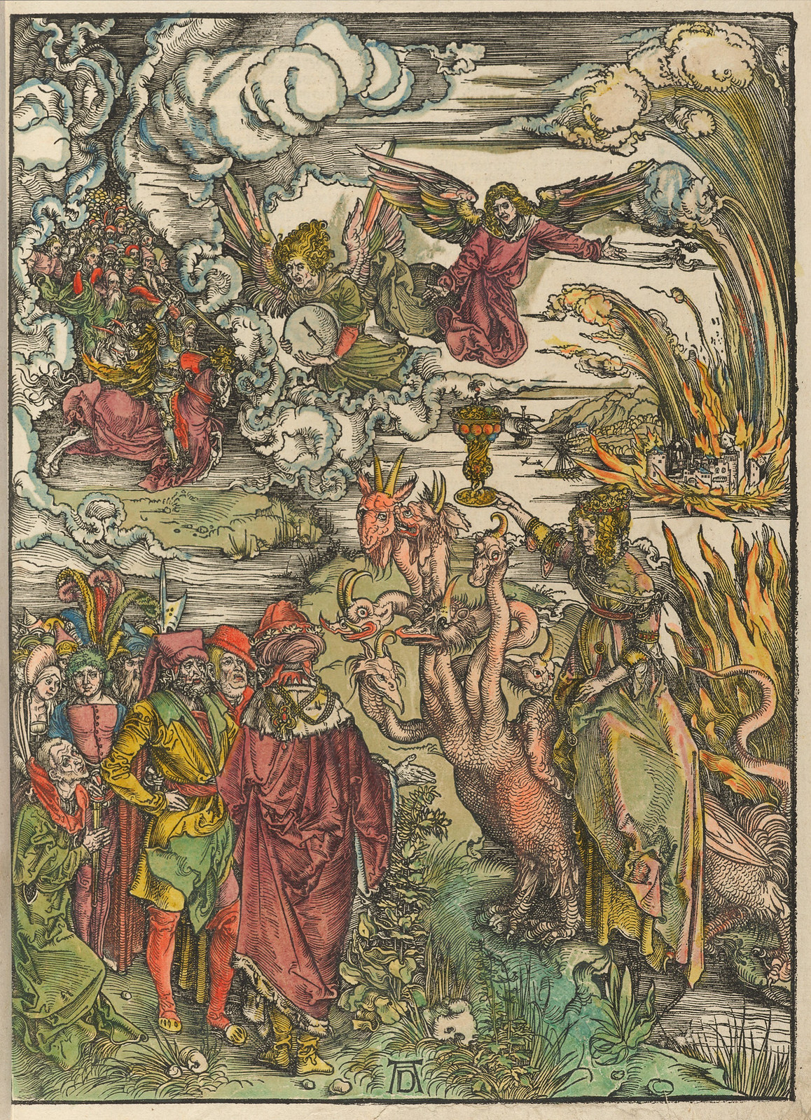 Albrecht Dürer - Whore of Babylon, Plate fourteen of fifteen from the Latin edition of The Apocalypse series, hand colored, printed 1511