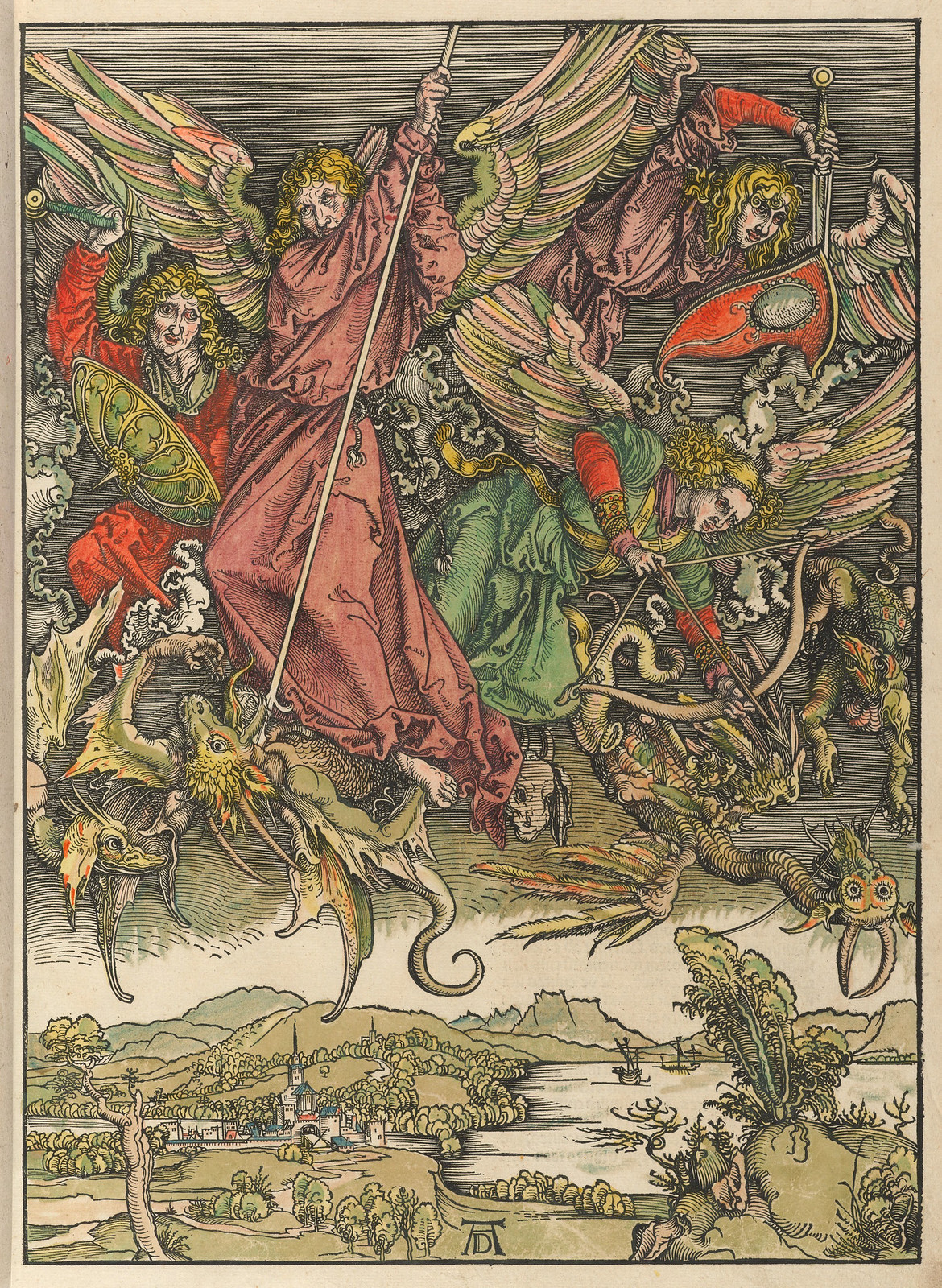 Albrecht Dürer - St Michael fighting the dragon, Plate eleven of fifteen from the Latin edition of The Apocalypse series, hand colored, printed 1511