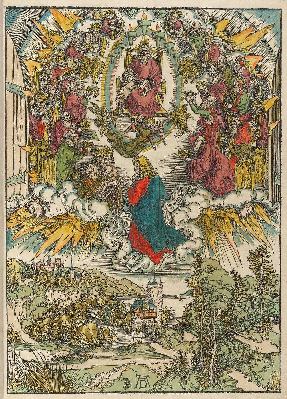 Albrecht Dürer - St John before God and the elders, Plate three of fifteen from the Latin edition of The Apocalypse series, hand colored, printed 1511