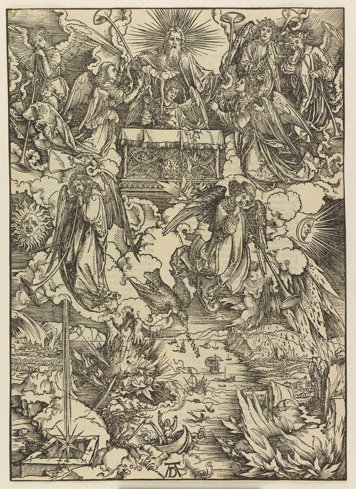 Albrecht Dürer - Seven angels with the trumpets, Plate seven of fifteen from the Latin edition of The Apocalypse series, printed 1511