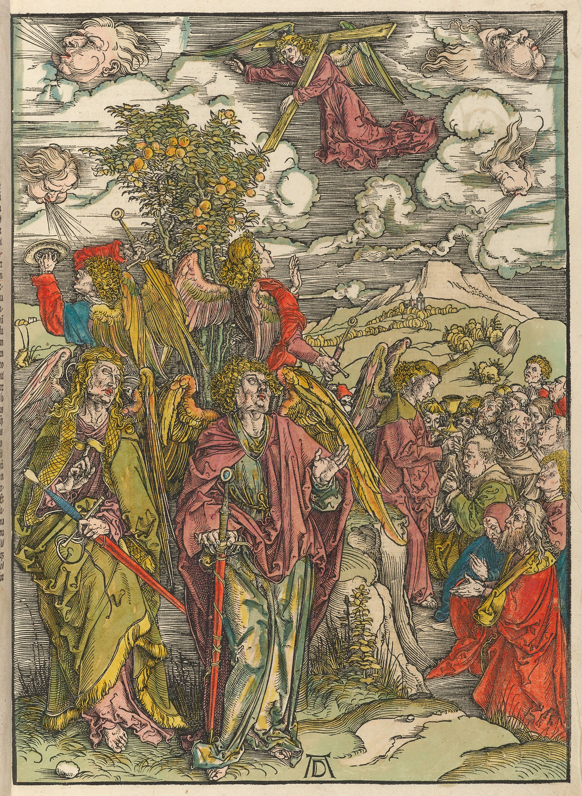 Albrecht Dürer - Four angels holding the winds, Plate six of fifteen from the Latin edition of The Apocalypse series,  hand colored, printed 1511