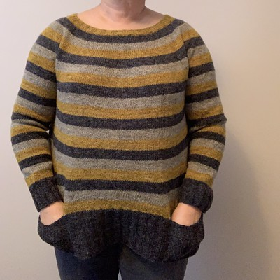 """I finished my Stripes! by Andrea Mowry! Knit using Lichen and Lace Rustic Heather Sport with inset pockets and 4"""" of 2x2 rib."""