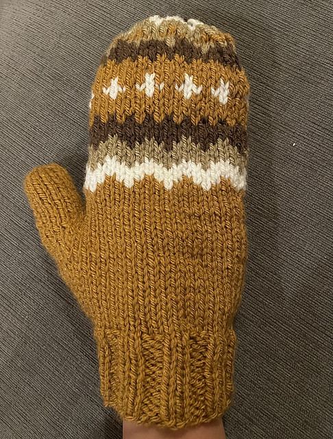 Bernie's Mittens by Alyssa Coffey was inspired by the mittens Bernie wore and made by Jan Ellis. Her pattern was updated so use Version 2.