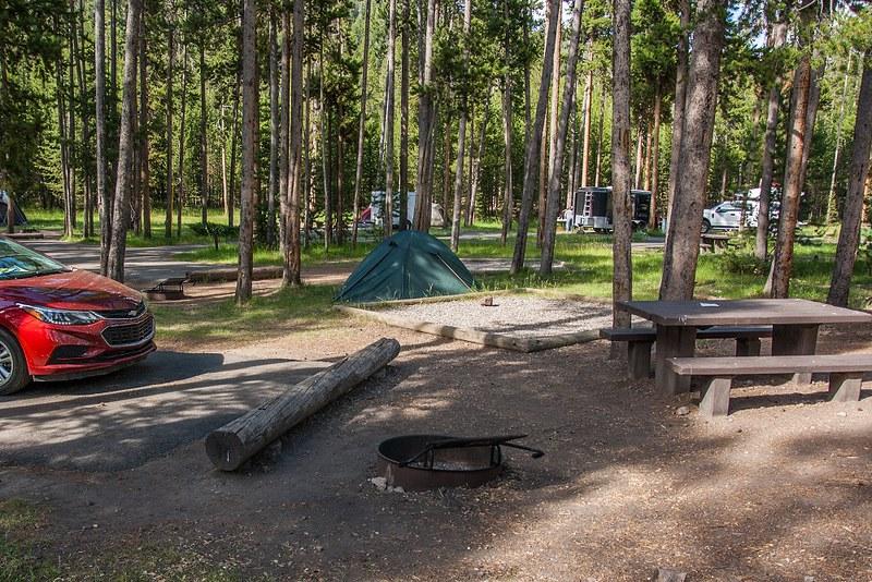 Leirintäalue, Yellowstone, telttailu kalliovuorilla