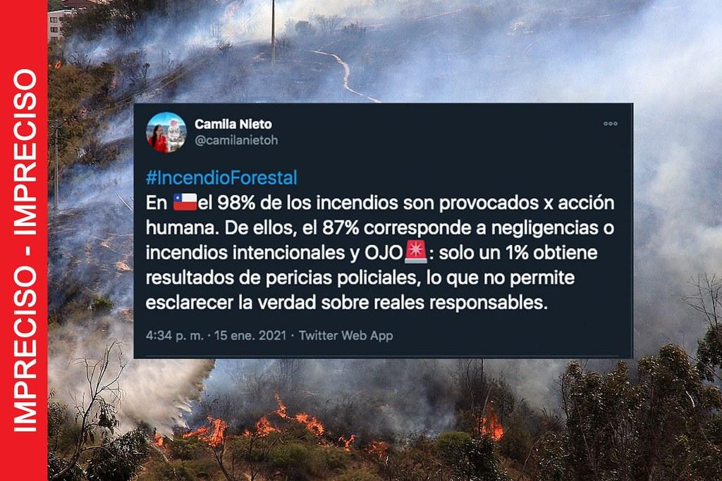 ¿98% de los incendios forestales en Chile son provocados por la acción humana? Sí y más