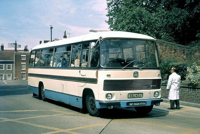 Classic Coaches ( Shreeve ) . Lowestoft , Suffolk EBJ43J . Colchester Bus Park , Essex . Saturday 26th-May-1973 .
