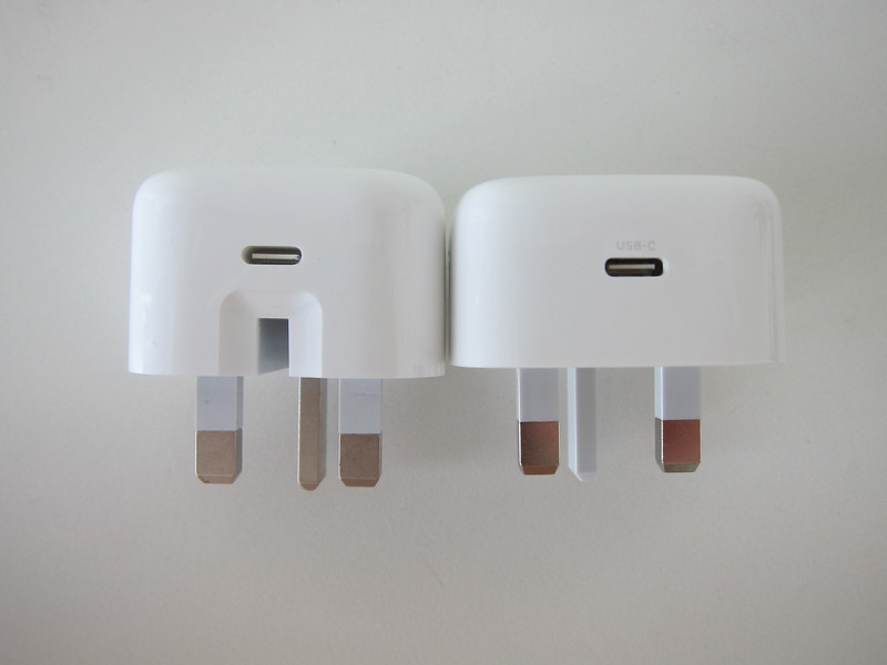 Ugreen 20W USB-C PD Charger vs Apple 20W USB-C Power Adapter - Side