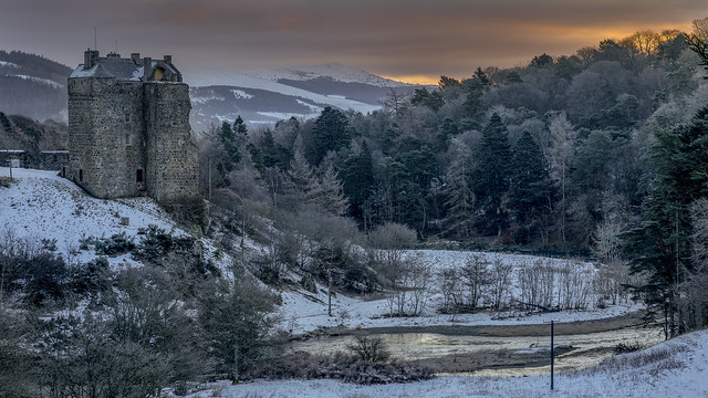 Neidpath Castle in the Snow at Sunrise