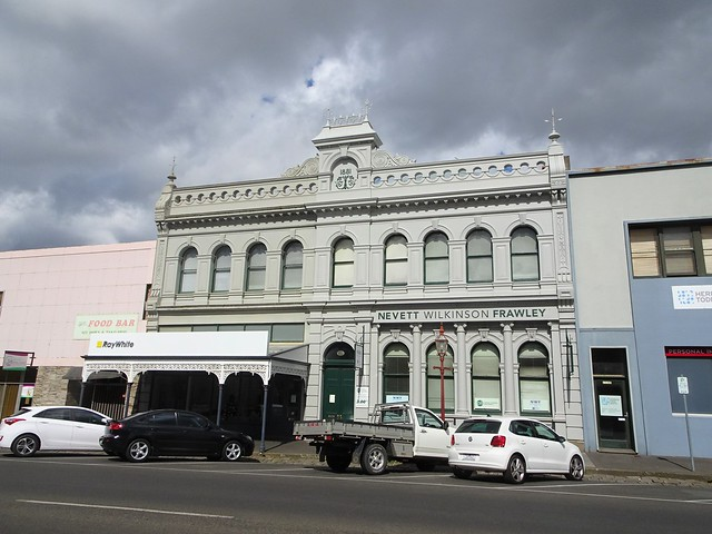 Ballarat. Wealthy gold mining city. Impressive commercial building in Greek revivial style built in 1881. In Lydiard Street.
