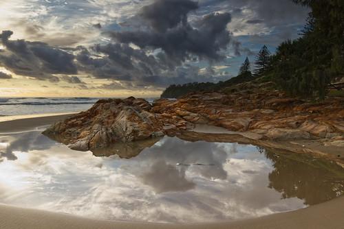 australia queensland coolum landscape seascape mood sky clouds rock pool sand beach trees reflections canon