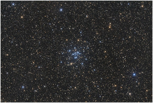 Open star cluster M34 in Perseus. Spot the planetary nebula!
