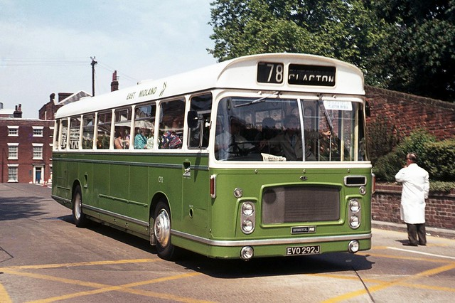 East Midland Motor Services C92 EVO292J . Colchester Bus Park , Essex . Saturday 26th-May-1973 .