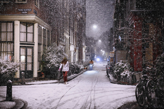 Snow flakes falling in the heart of Jordaan - Amsterdam