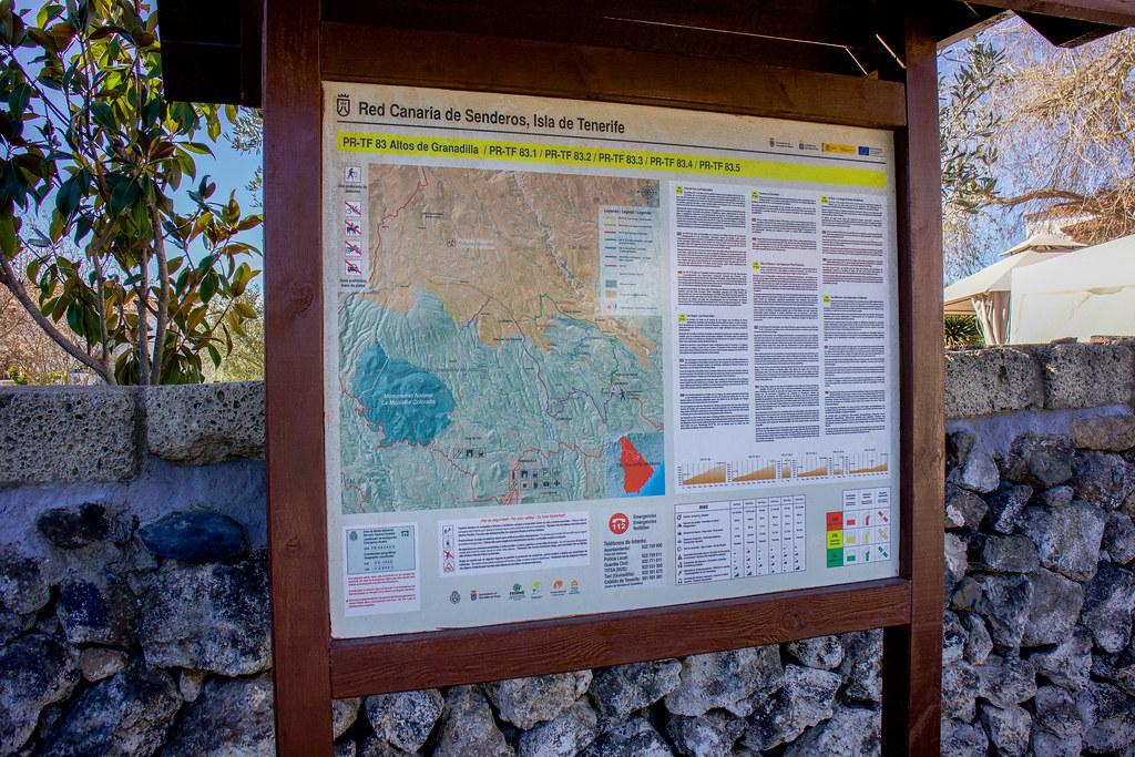 Mapa con los senderos de Las Vegas en Tenerife