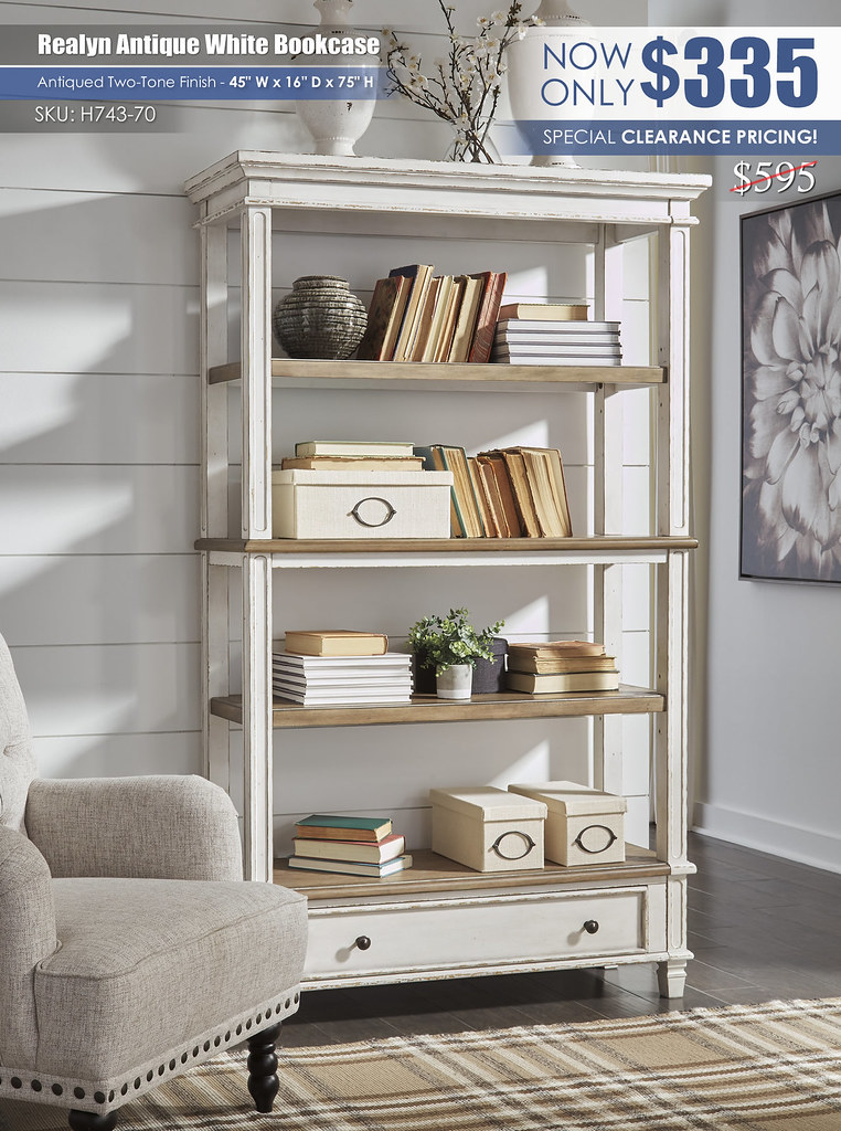 Realyn Antique White Bookcase_H743-70