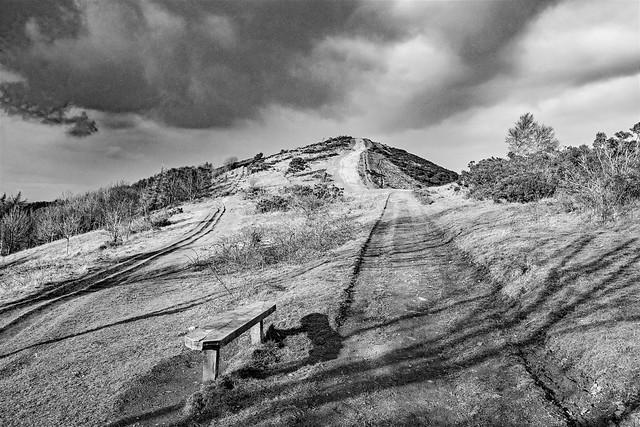 Malvern hills in black and white